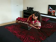 Red saree Bhabhi caught watching porn blackmailed and forced to fuck by Devar dirty hindi